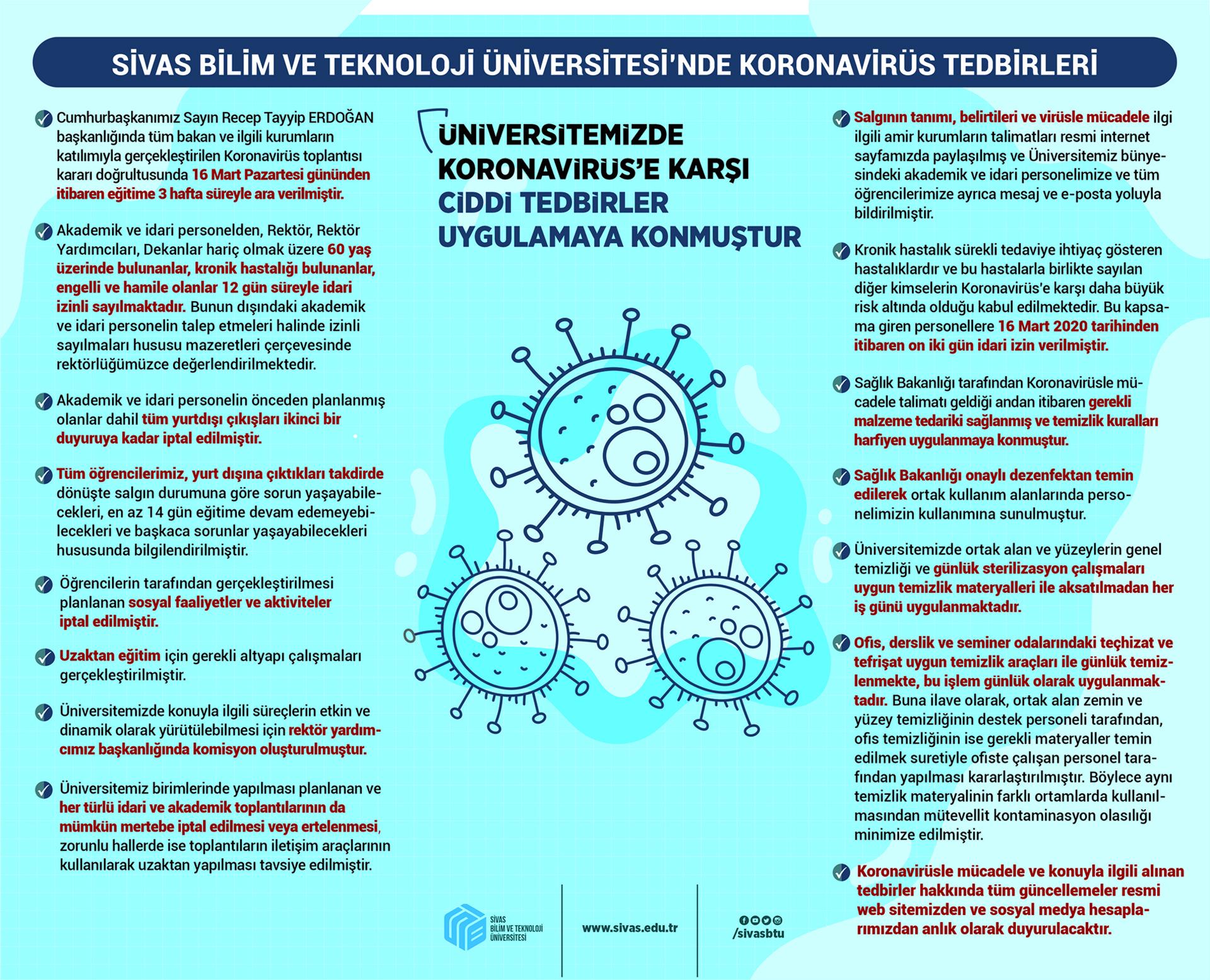 Covid 19 için Üniversitemizde Ciddi Tedbirler Uygulanıyor
